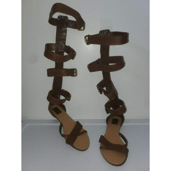 Zara Women Knee High Leather Strappy Sandals 40